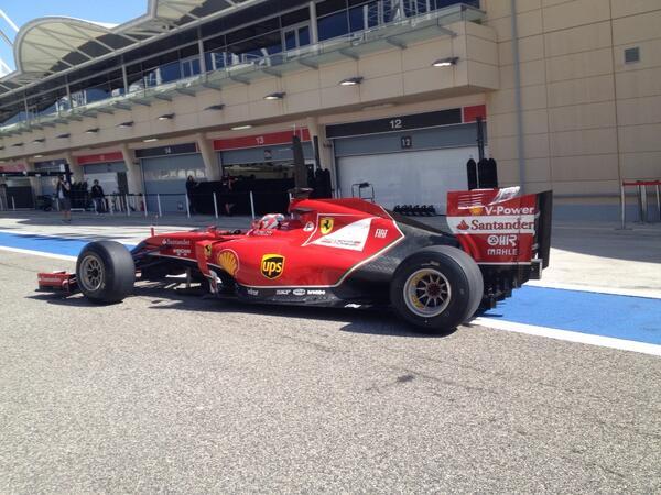 Raikkonen Ferrari Test Bahrain 2014