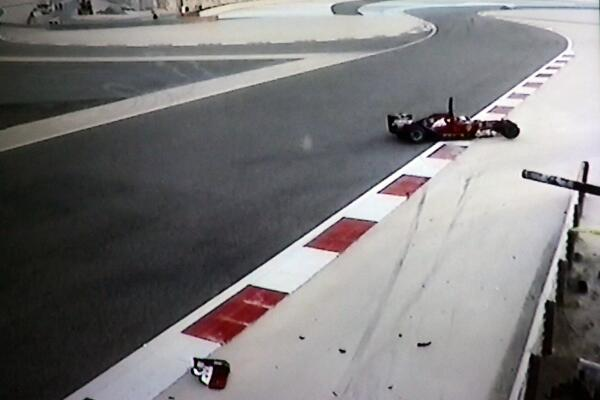 incidente raikkonen test bahrain