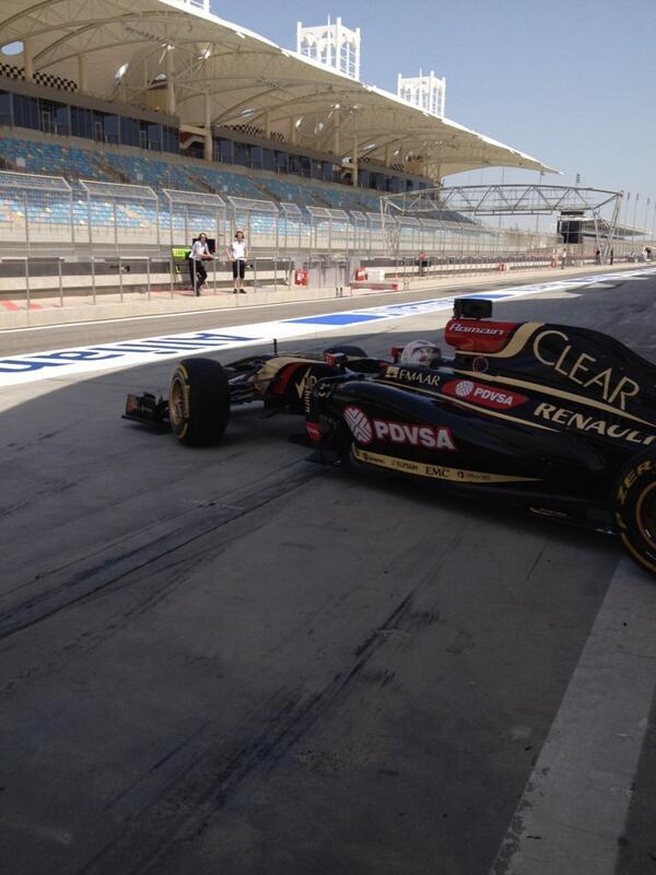 Romain Grosjean (Lotus) Test F1 Bahrain 9 aprile 2014